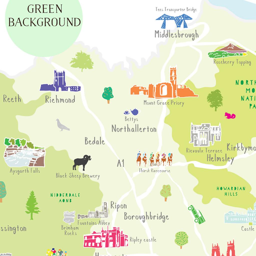 Map of North Yorkshire North East England Unframed print illustration