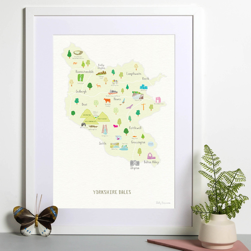 Map of Yorkshire Dales National Park Art Print