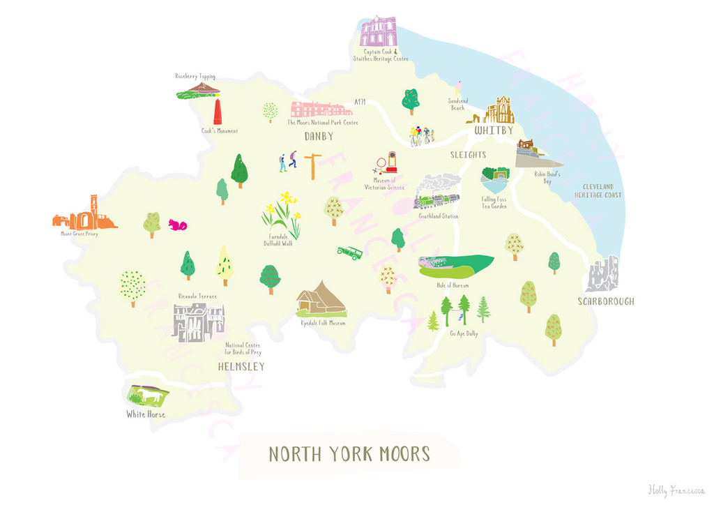 Illustrated hand drawn Map of the North York Moors National Park art print by artist Holly Francesca.