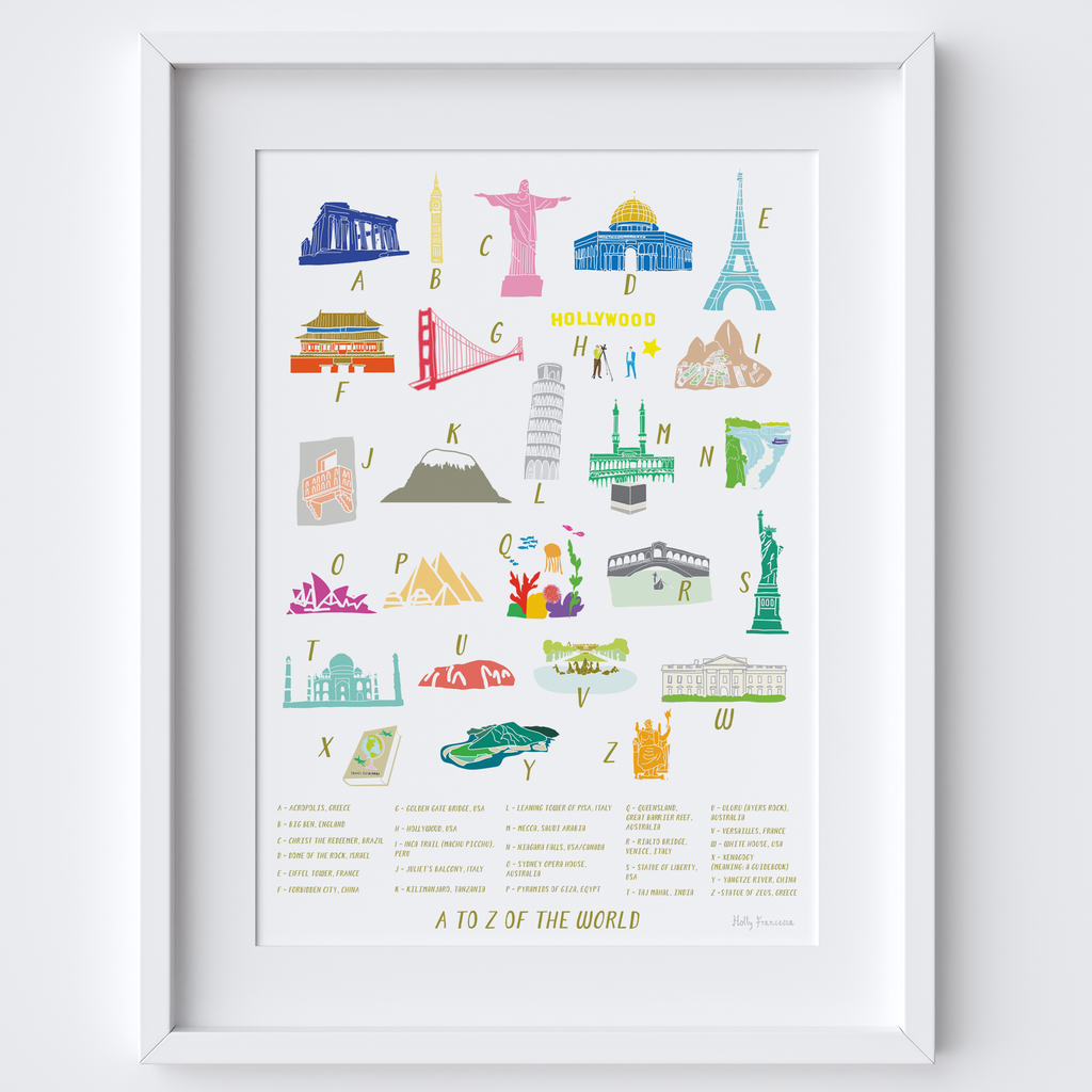 A-Z of the World Alphabet Art Print (Various Sizes)