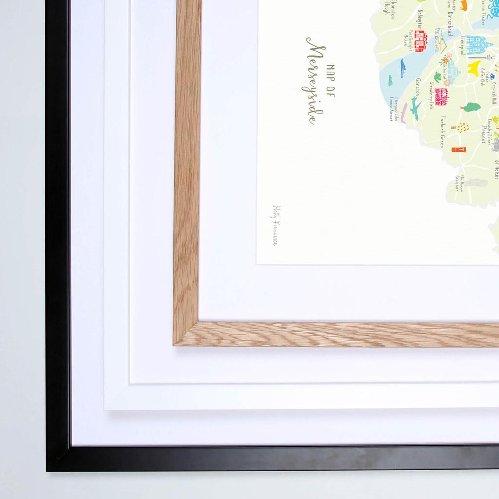 Map of Merseyside in North West England framed print illustration