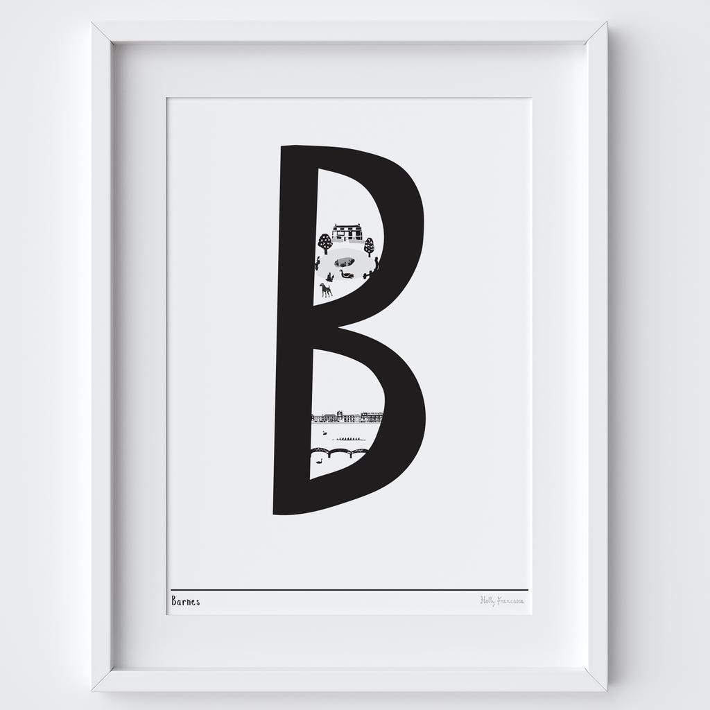 Illustrated hand drawn Barnes Letter art print by artist Holly Francesca.