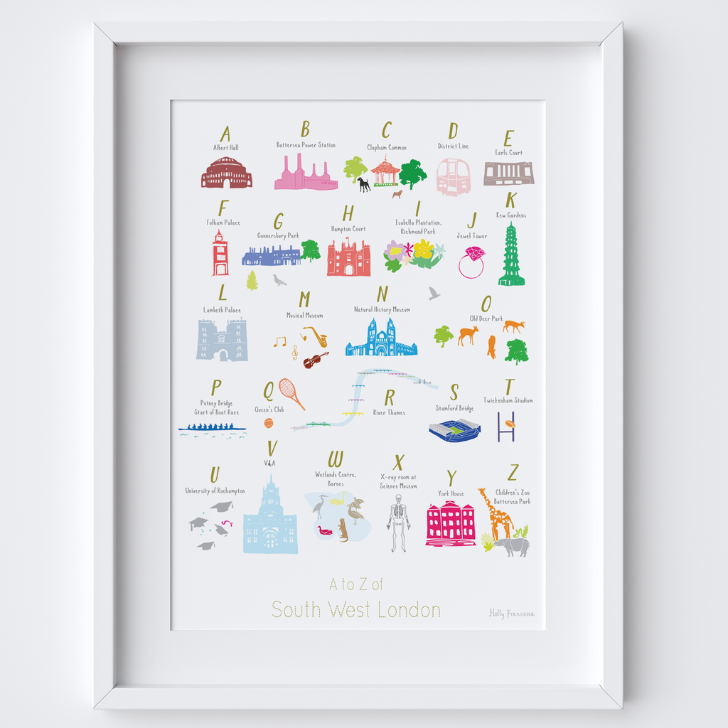 A to Z of South West London illustration print by artist Holly Francesca.