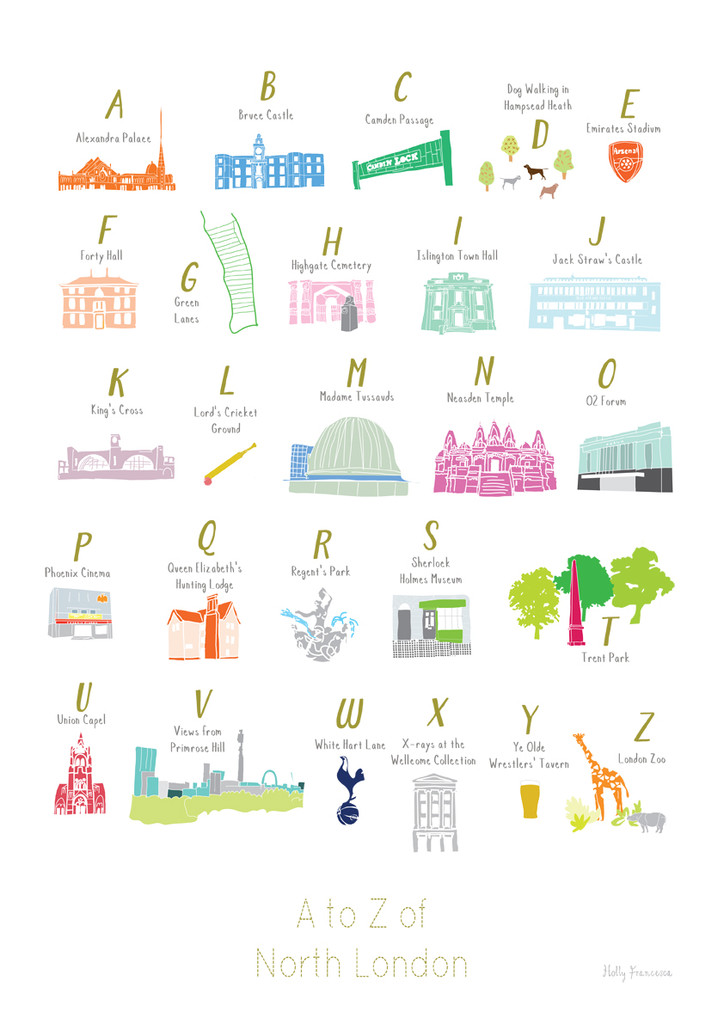 A to Z of North London illustration print by artist Holly Francesca.