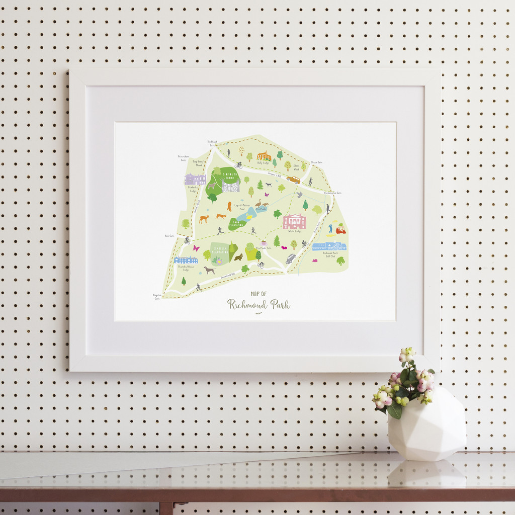 Illustrated hand drawn Map of Richmond Park by UK artist Holly Francesca.