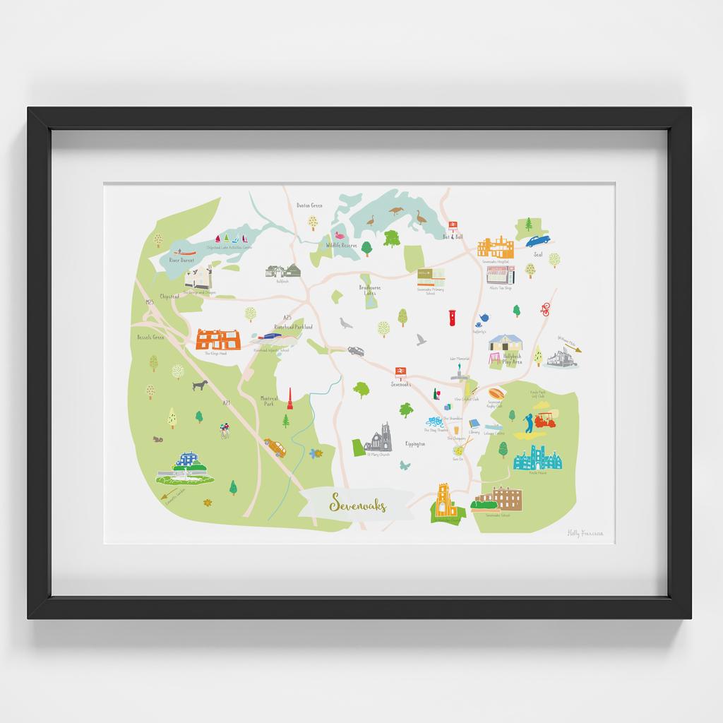 Illustrated hand drawn Map of Sevenoaks by UK artist Holly Francesca.