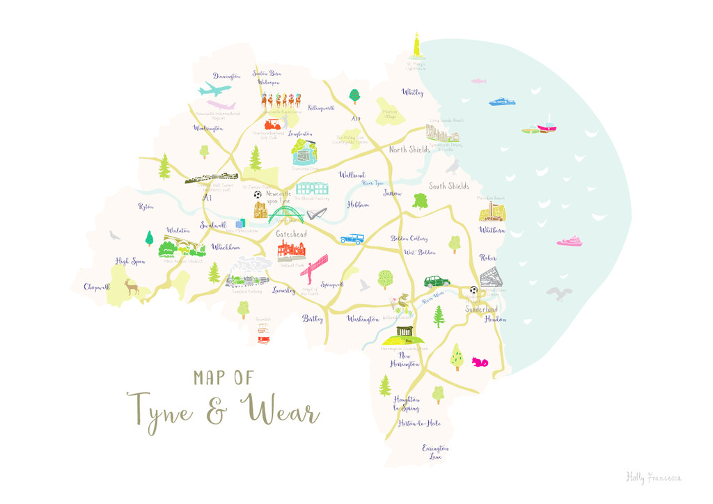 Map of Tyne & Wear in North East England unframed print illustration