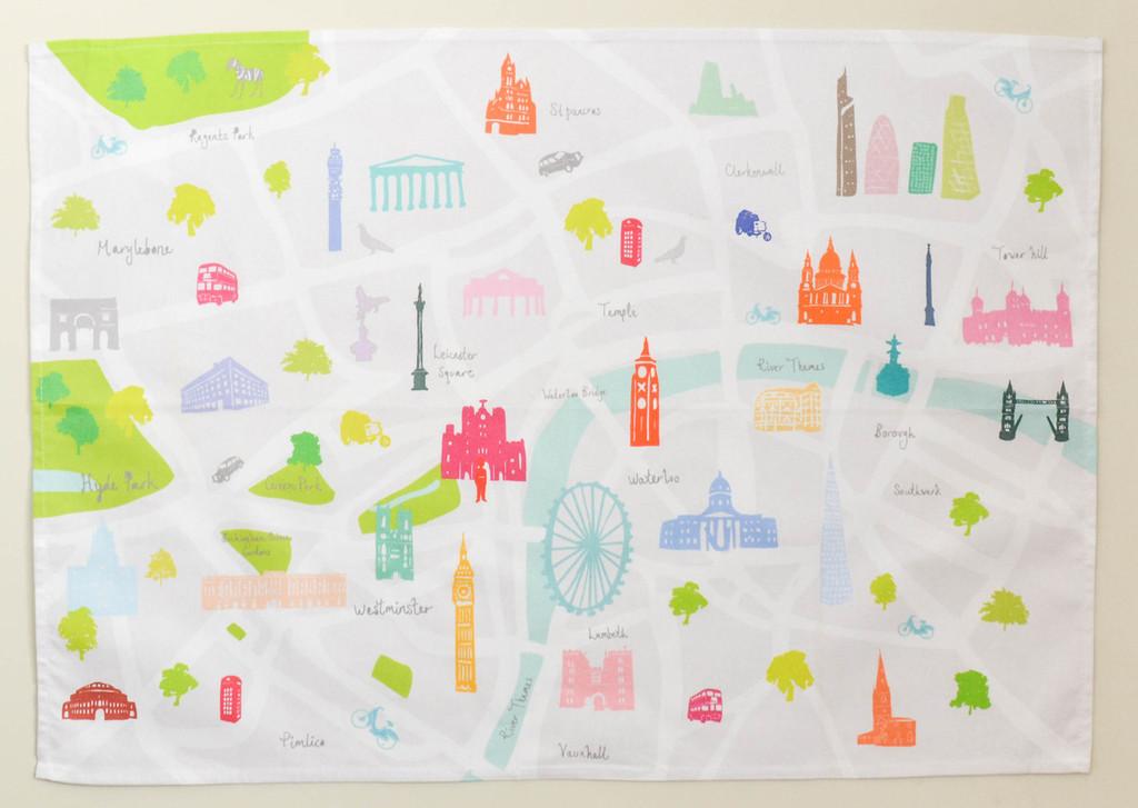 Map of London Tea towel