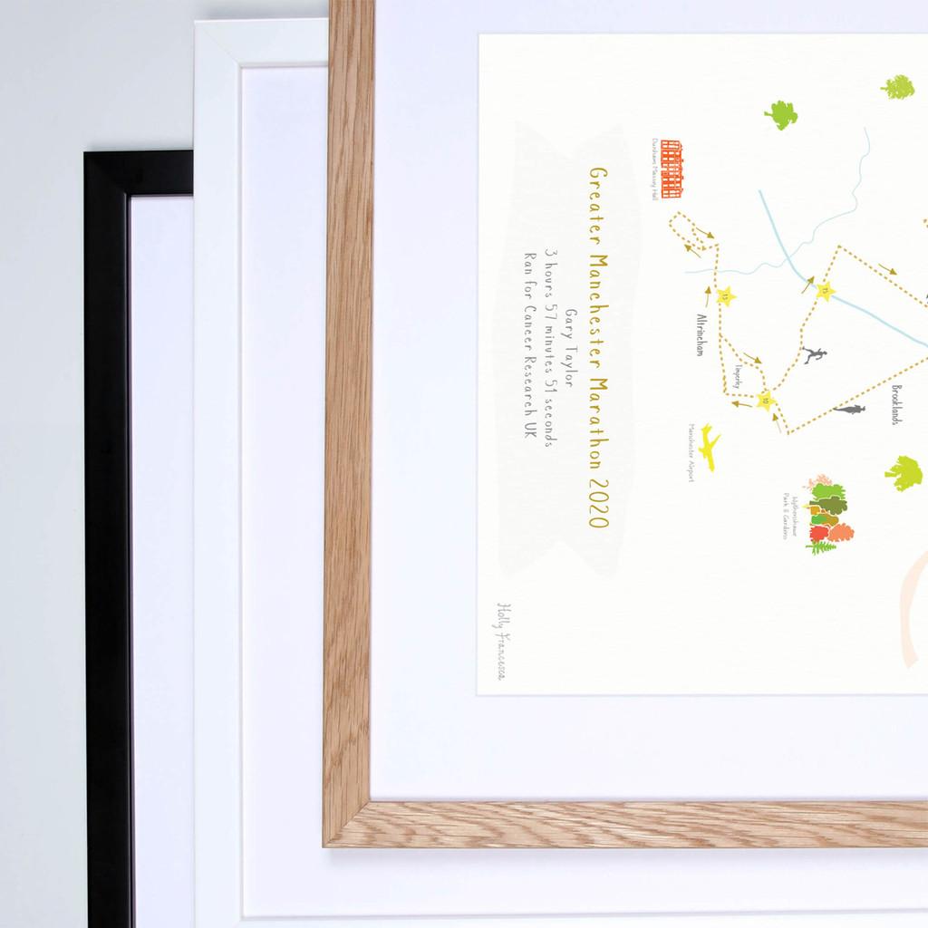 Greater Manchester full marathon framed print.