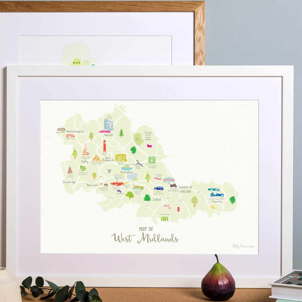 Illustrated hand drawn Map of West Midlands art print by artist Holly Francesca.