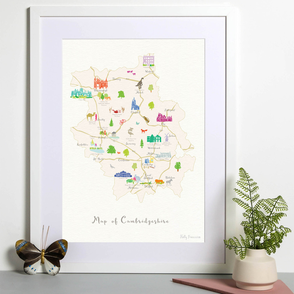 Illustrated hand drawn Map of Cambridgeshire art print by artist Holly Francesca.