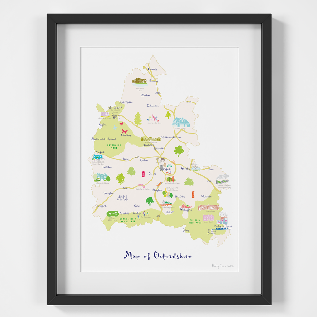 Illustrated hand drawn Map of Oxfordshire art print by artist Holly Francesca.