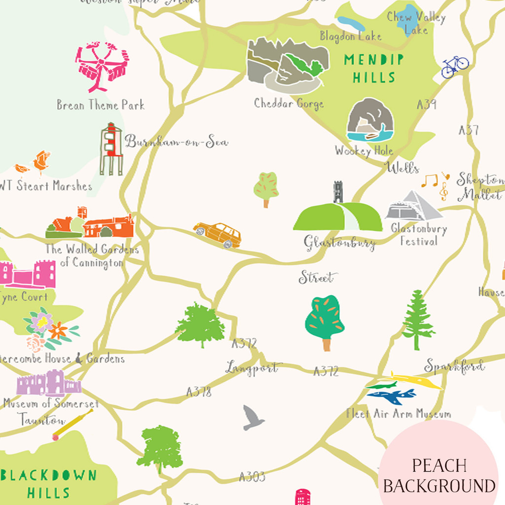 Illustrated hand drawn Map of Somerset art print by artist Holly Francesca.