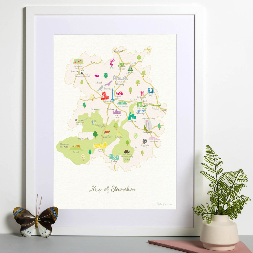 Illustrated hand drawn Map of Shropshire art print by artist Holly Francesca.