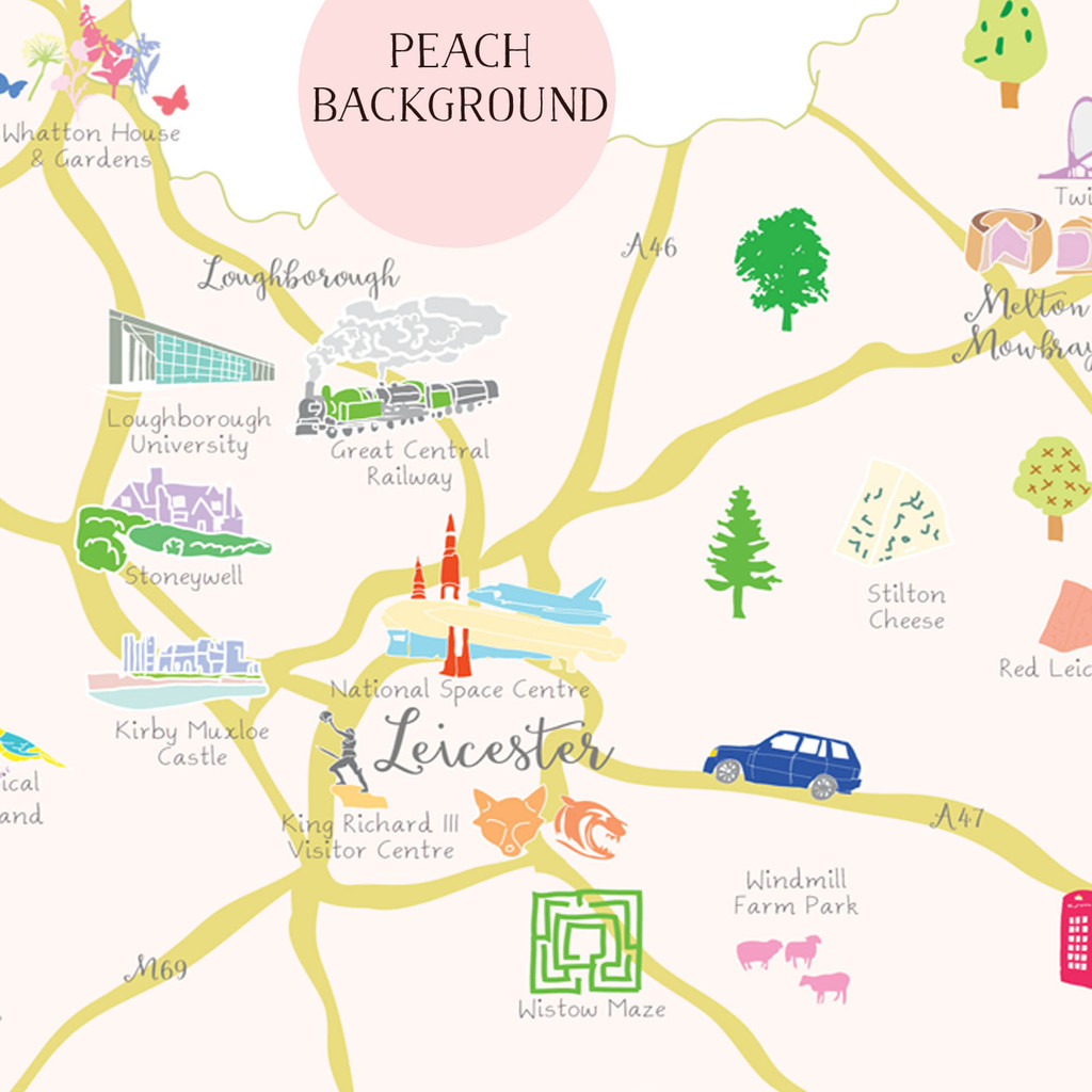 Illustrated hand drawn Map of Leicestershire art print by artist Holly Francesca.
