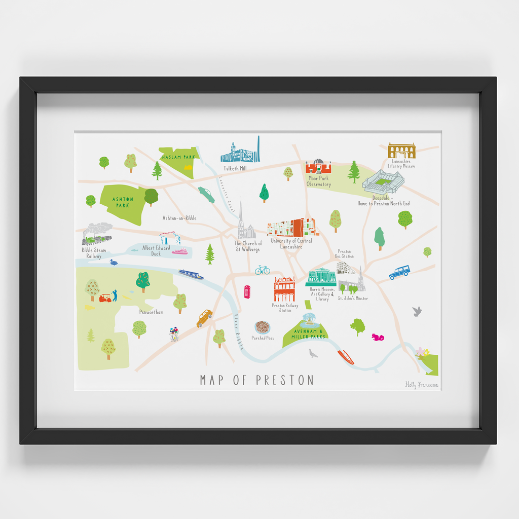 Illustrated hand drawn Map of Preston art print by artist Holly Francesca.