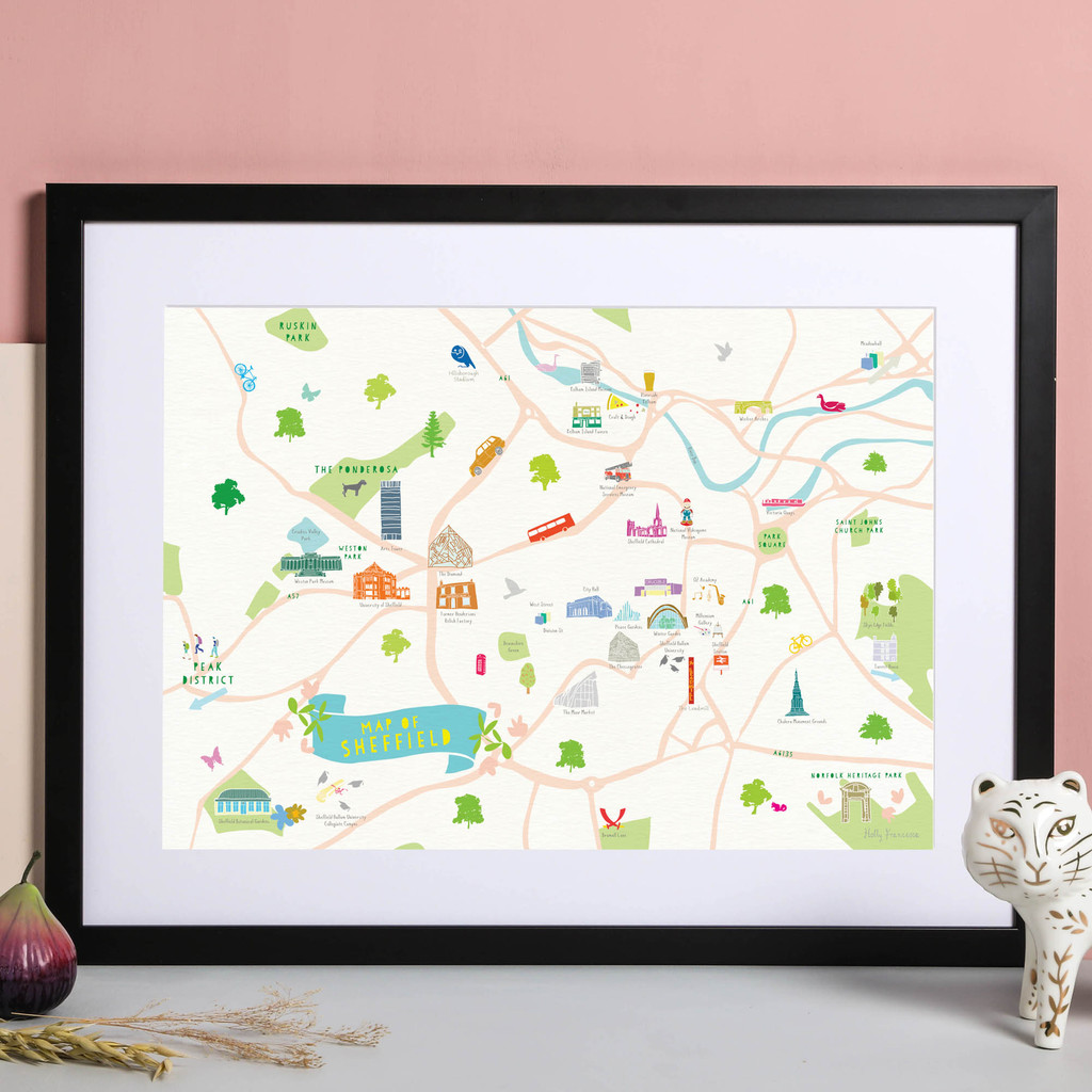 Illustrated hand drawn Map of Sheffield art print by artist Holly Francesca.