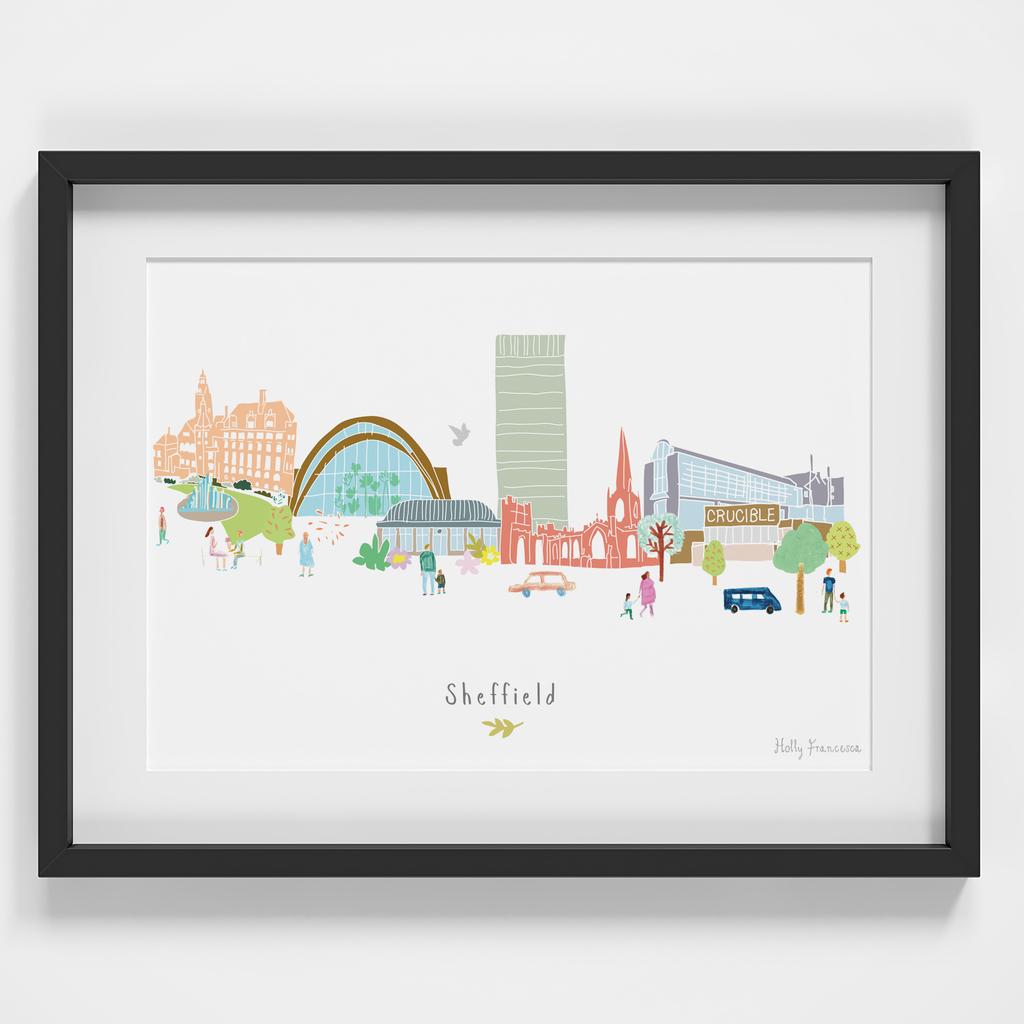 Sheffield Skyline Cityscape Art Print by Holly Francesca