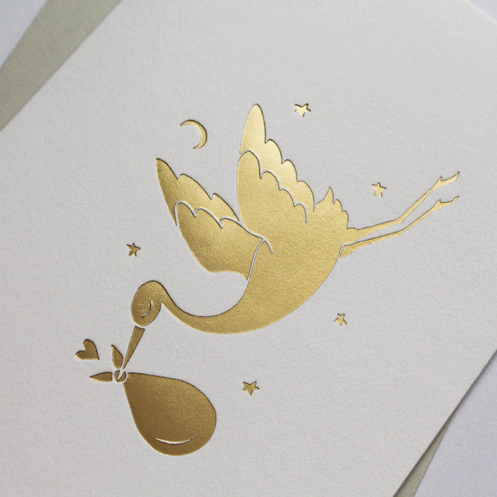 Hot foil stork new baby Greeting Card