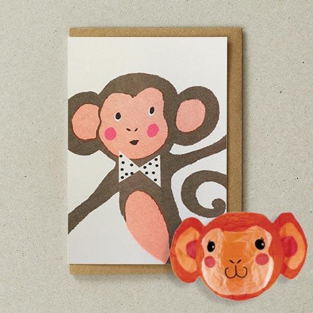 Paper Balloon Card - Monkey
