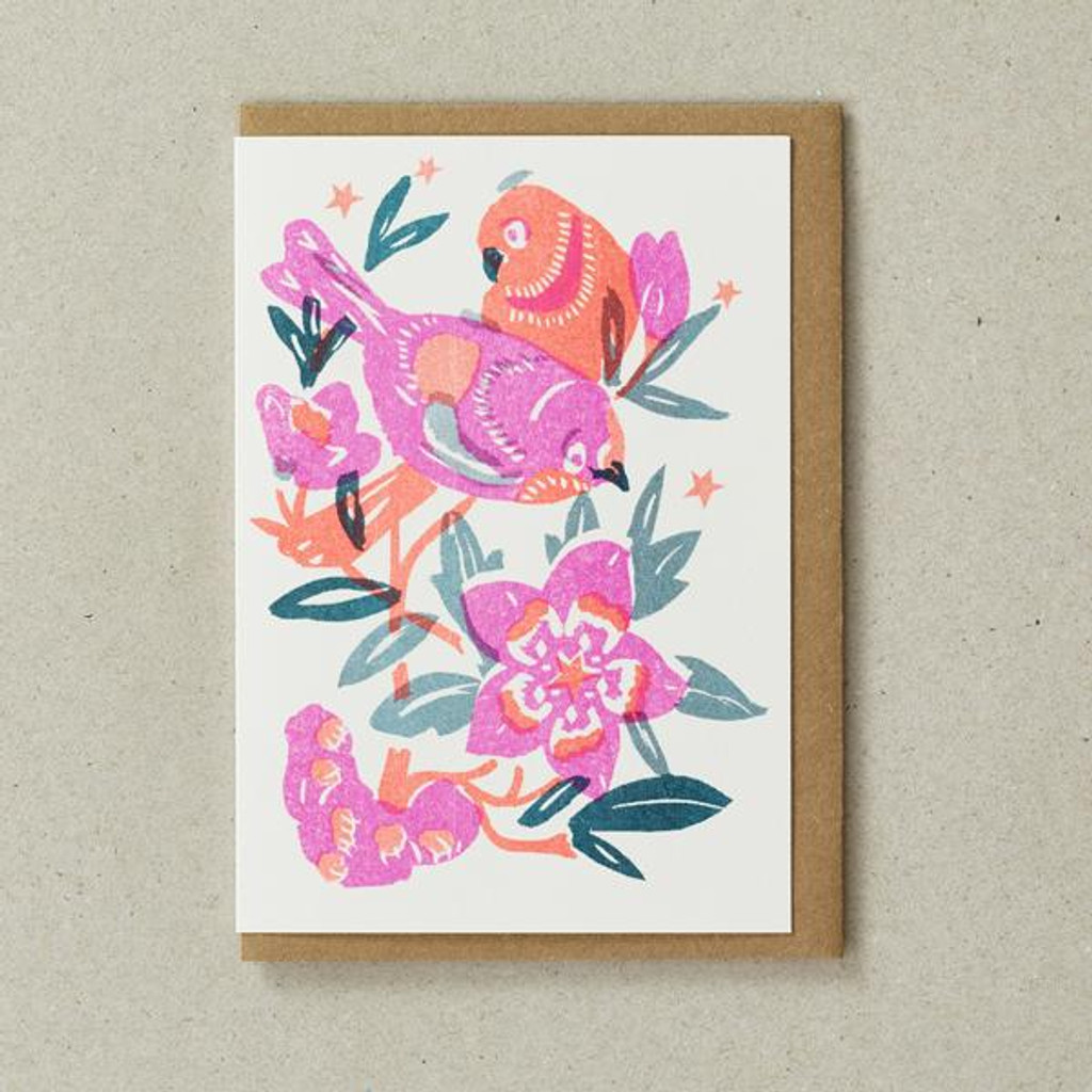 Riso Papercut Card - Love Birds