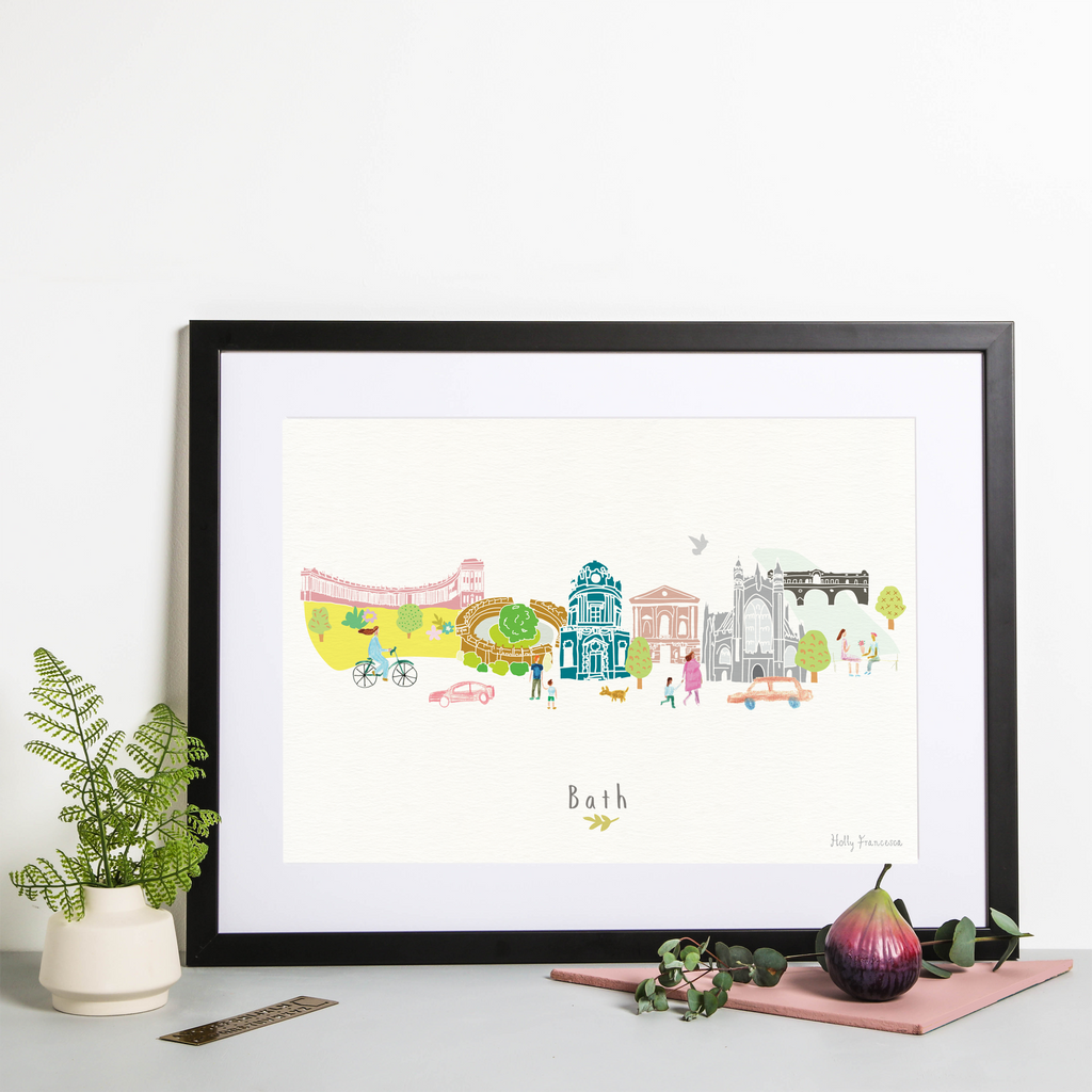 Illustrated hand drawn Bath Skyline Cityscape art print by artist Holly Francesca.