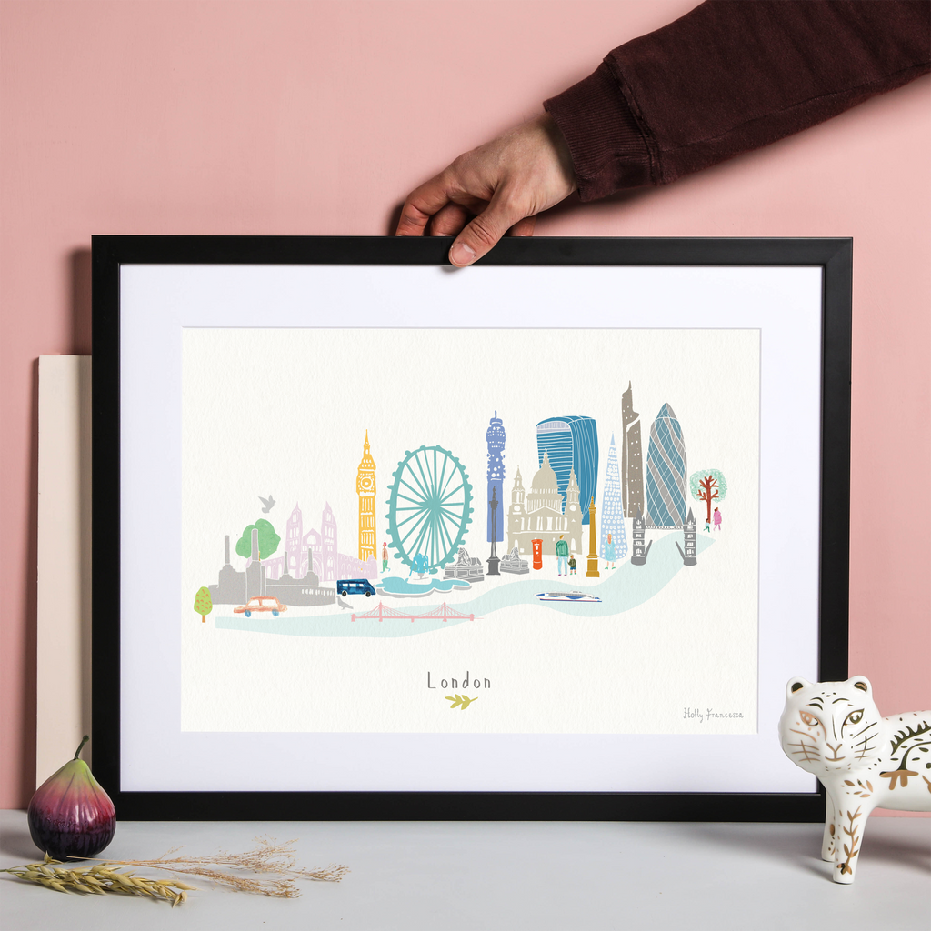 Illustrated hand drawn London Skyline Cityscape art print by artist Holly Francesca.