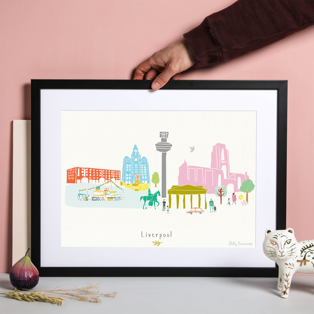 Illustrated hand drawn Liverpool Skyline Cityscape art print by artist Holly Francesca.