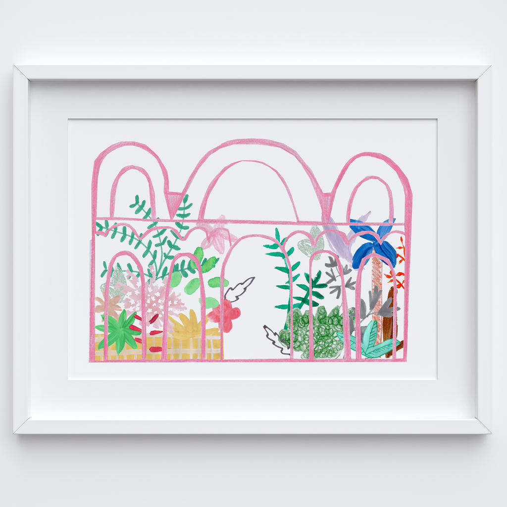 Illustrated hand drawn and painted pink botanical glasshouse art print by artist Holly Francesca.