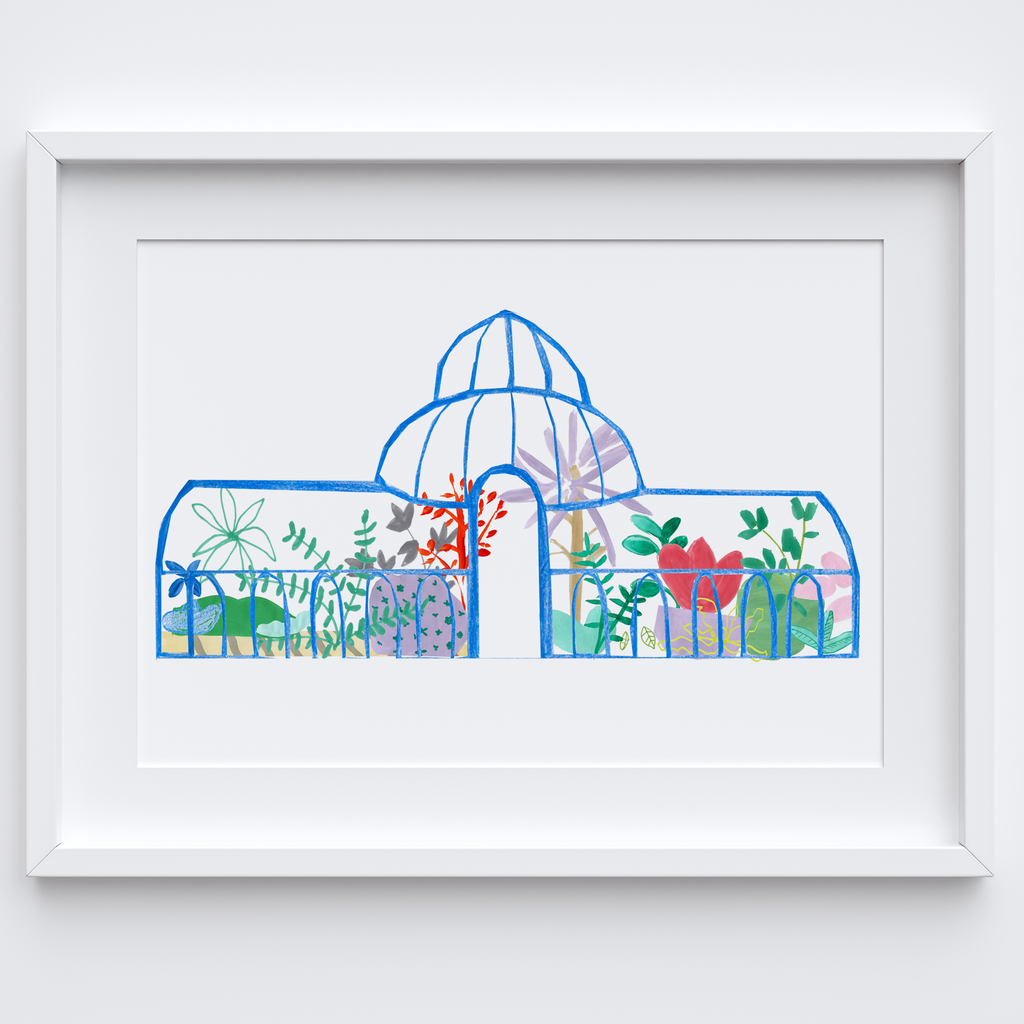 Illustrated hand drawn and painted blue botanical glasshouse art print by artist Holly Francesca.