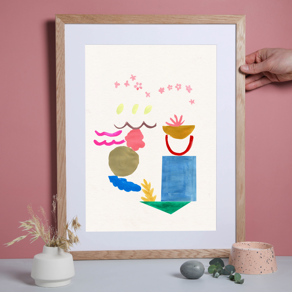 Illustrated hand drawn and painted 'Feel' Colour Shapes art print by artist Holly Francesca.