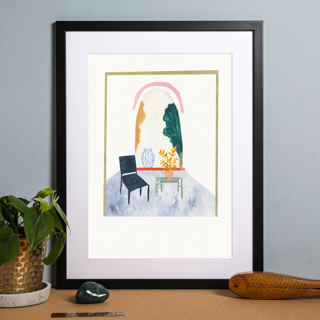 Illustrated hand drawn and painted Room Scene - Painted Art Print 'Elliot's Room' by artist Holly Francesca.
