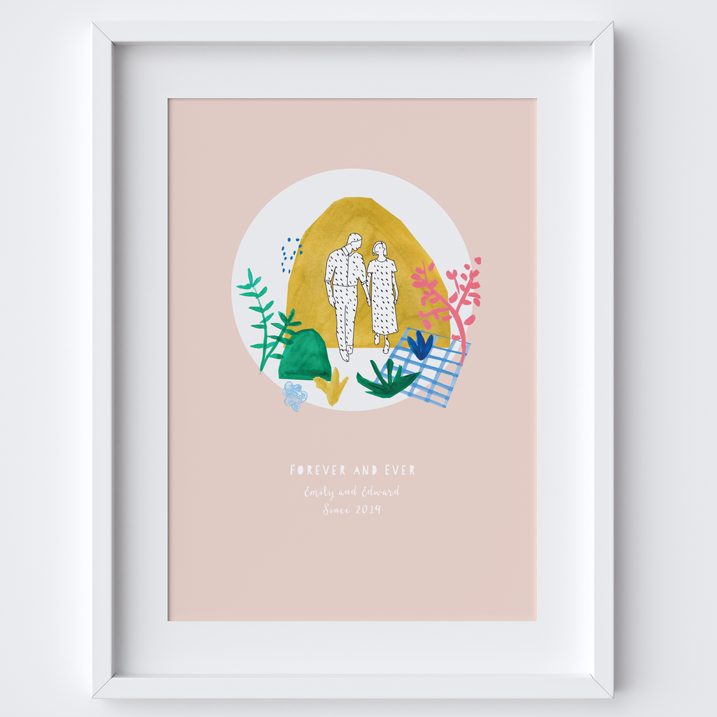 Personalised Forever and Ever Wedding Art Print