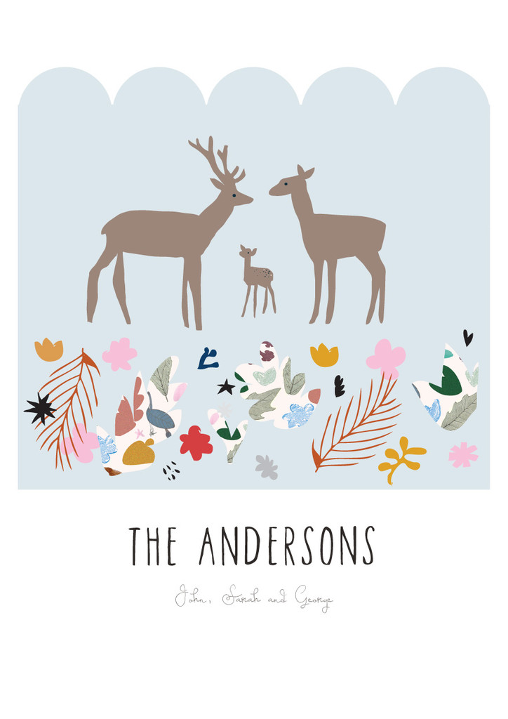 Personalised Deer Family Art Print