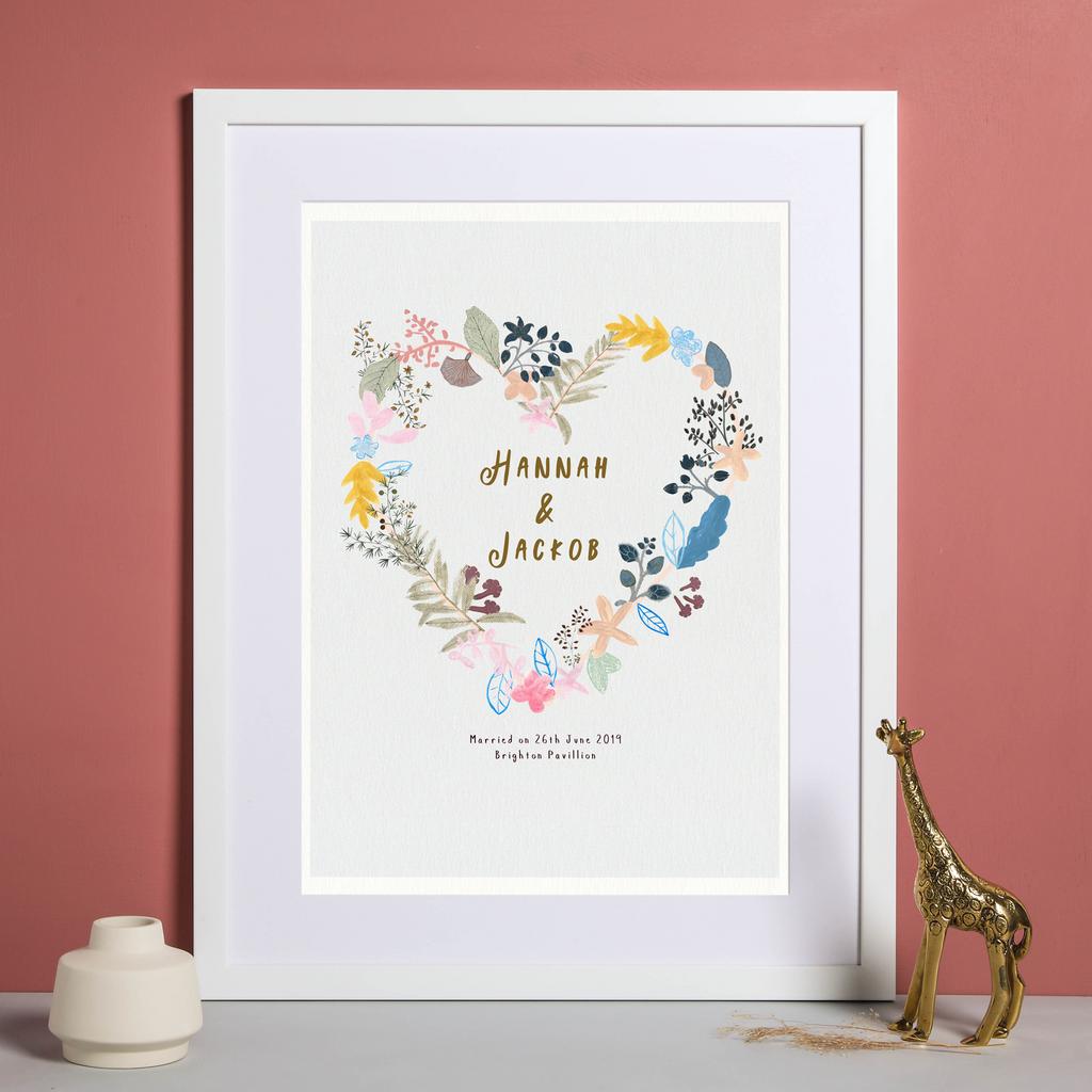 Personalised Floral Love Wedding Heart Art Print