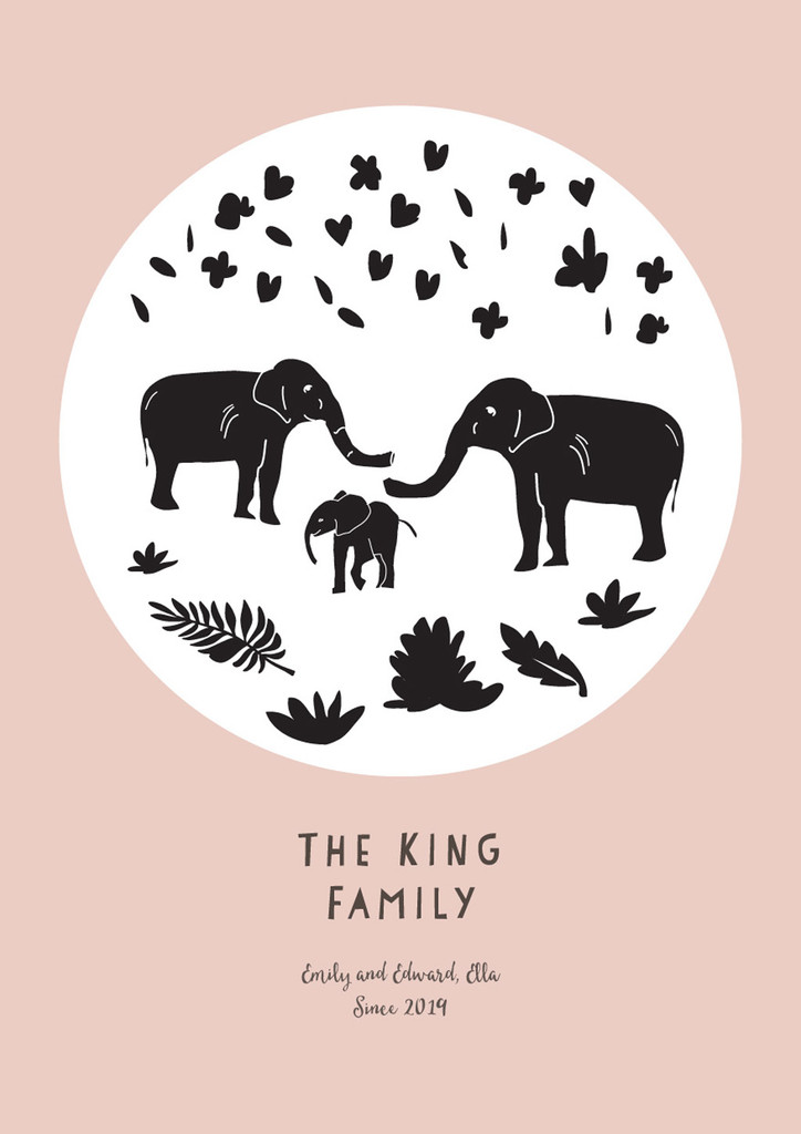 Personalised Elephant Family Art Print illustration can come framed or unframed.