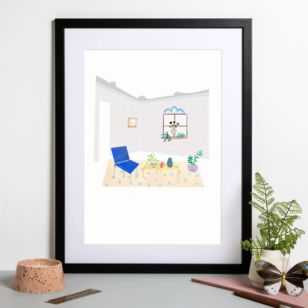 Illustrated art print, a minimalist lavender room with house plants and window scene. Created from original drawings and paintings by artist Holly Francesca.