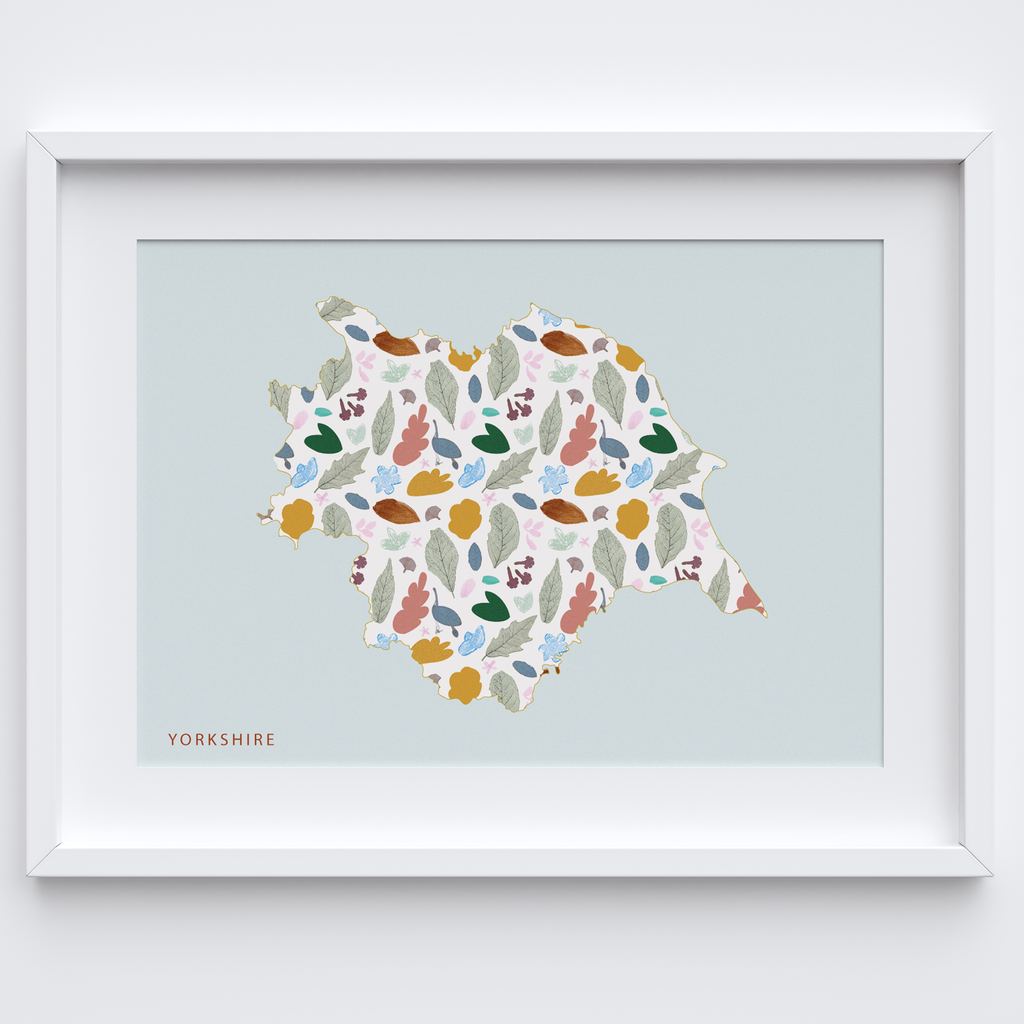 UK County Patterned Silhouette Map Print can come framed or unframed.
