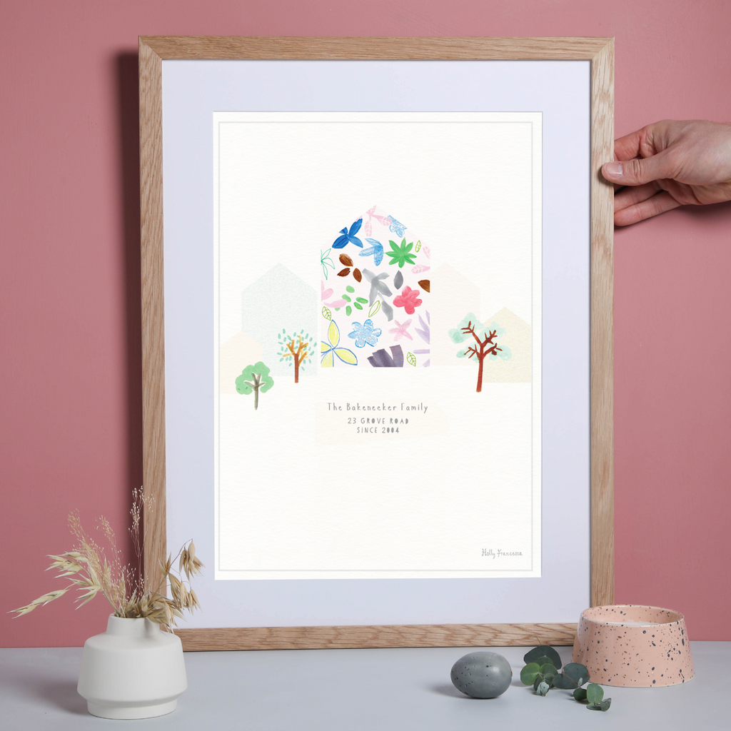 Illustrated hand drawn Building Portrait art print by artist Holly Francesca.