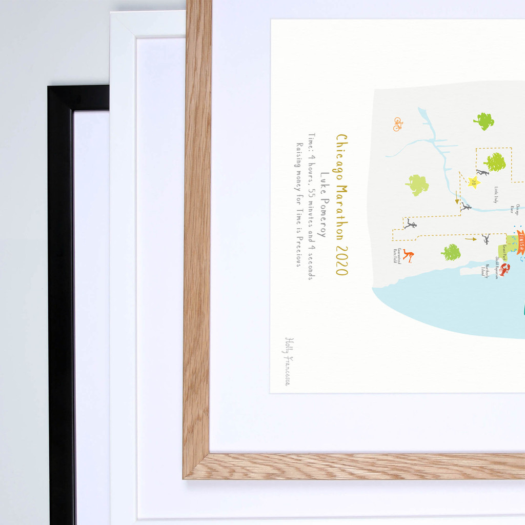 Illustrated personalised art print of the Chicago Marathon route by artist Holly Francesca