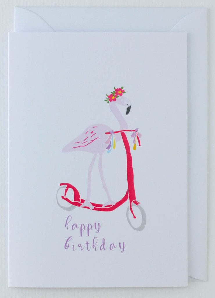 Flamingo on Scooter Birthday Card