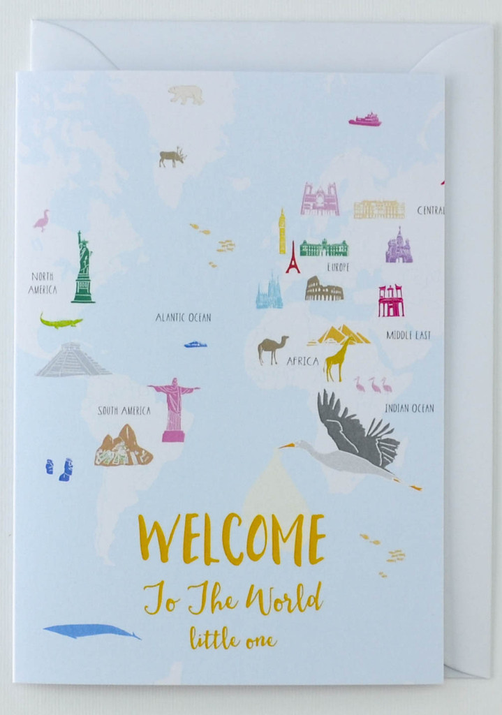 Welcome to the World Map - New Born Card