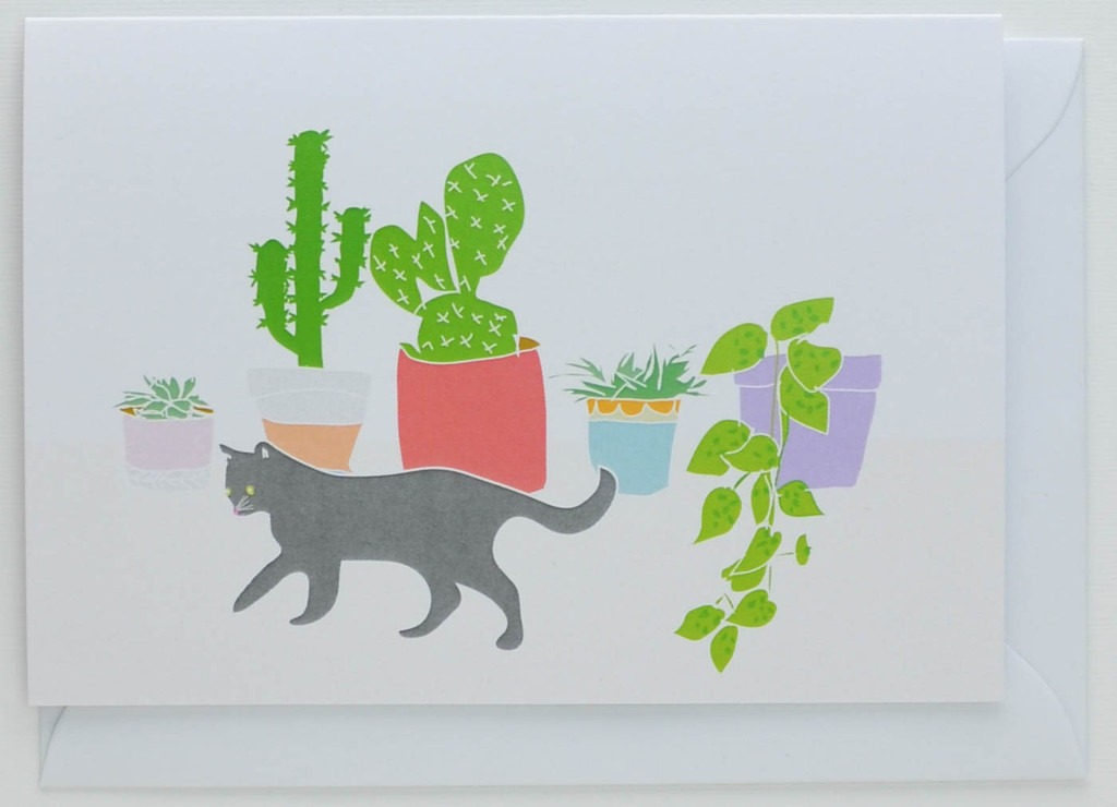 Cat and Cactus - Greeting Card