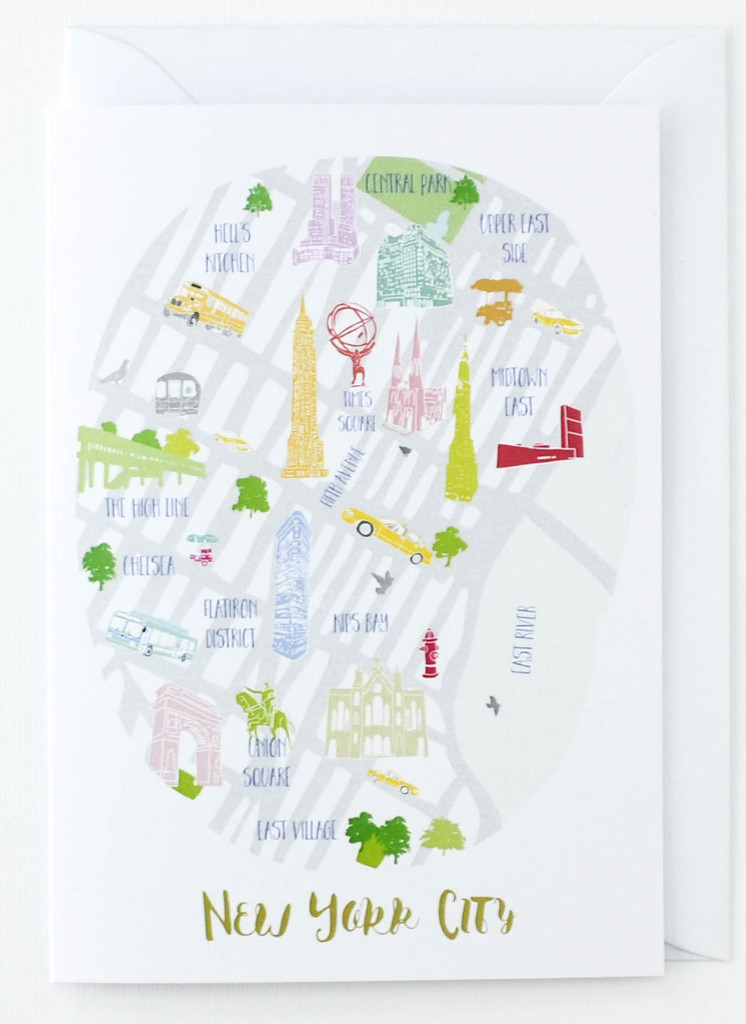 Map of New York City - Greeting Card