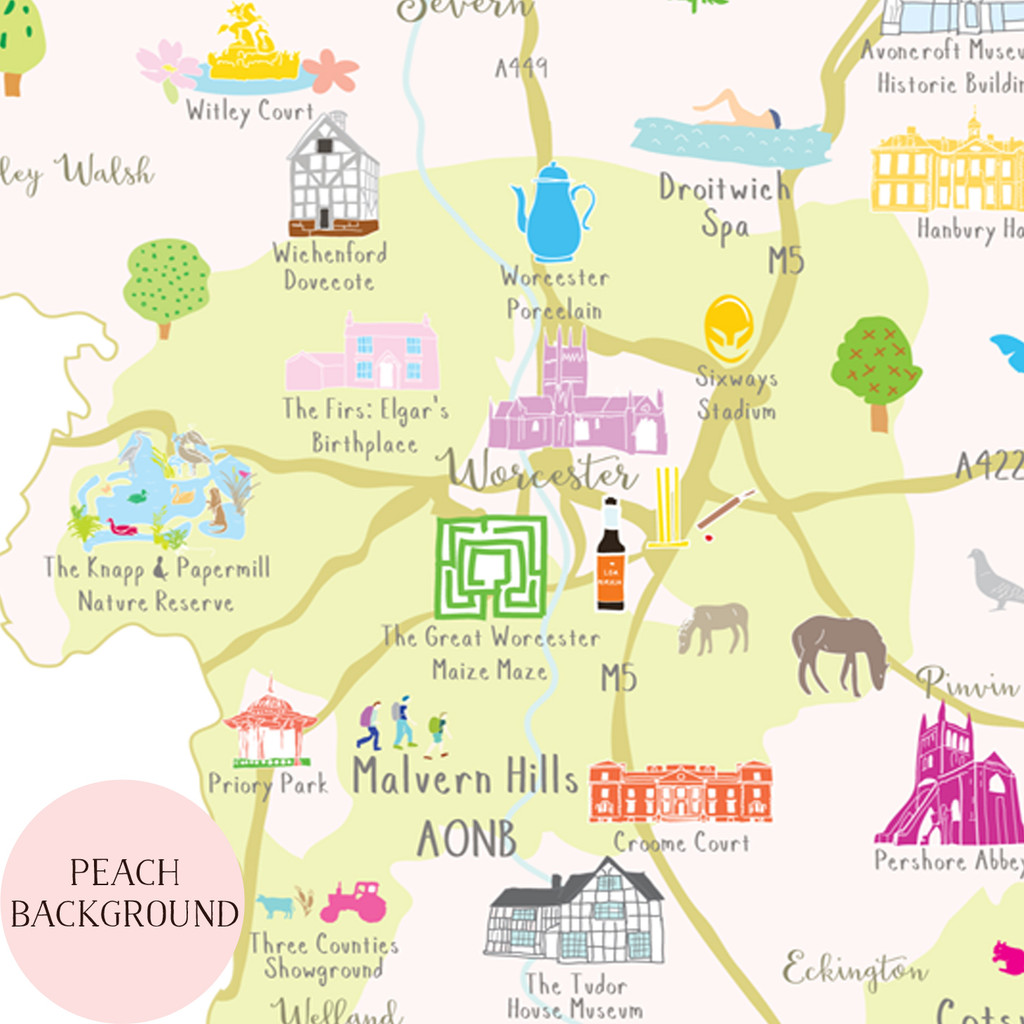 Illustrated hand drawn Map of Worcestershire art print by artist Holly Francesca.