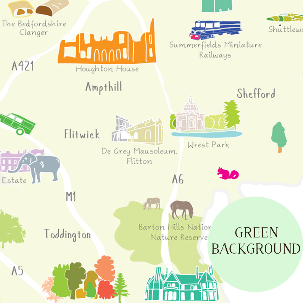 Illustrated hand drawn Map of Bedfordshire art print by artist Holly Francesca.