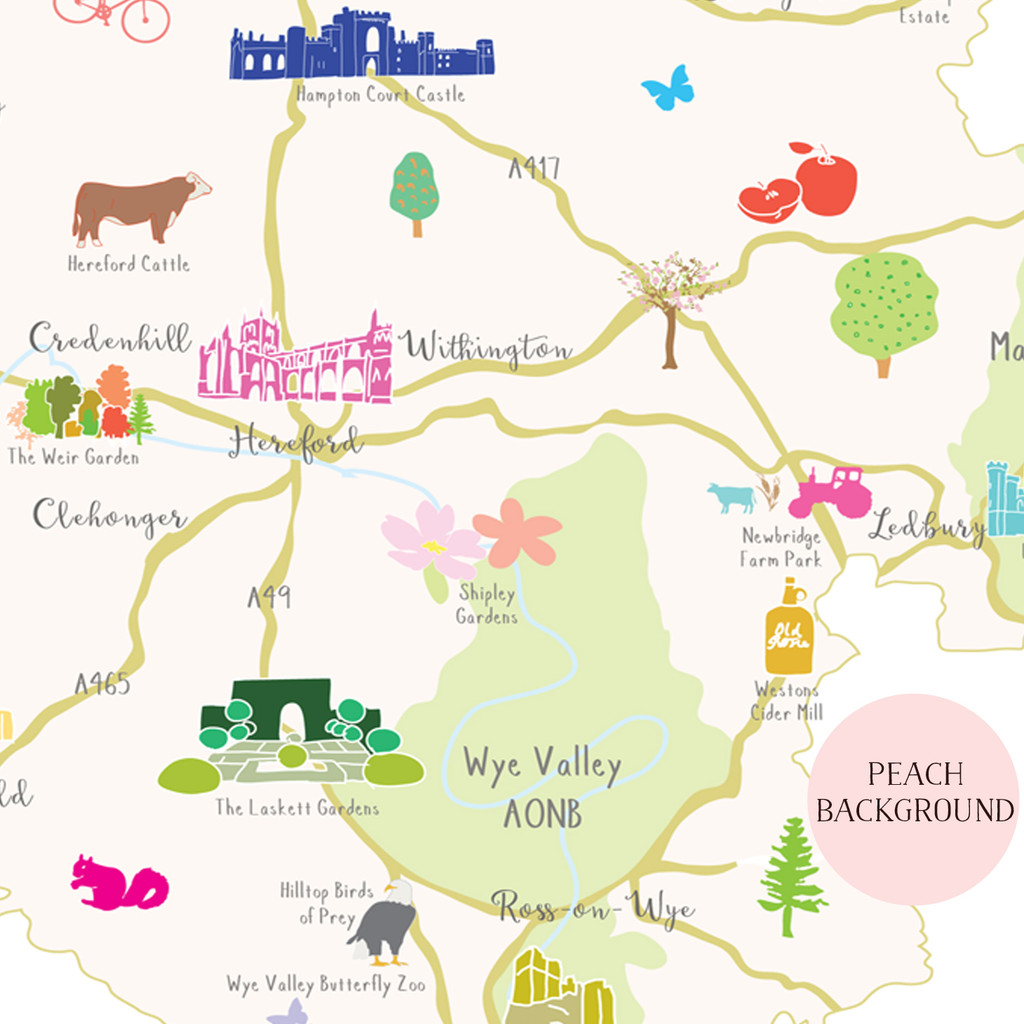 Illustrated hand drawn Map of Herefordshire art print by artist Holly Francesca.
