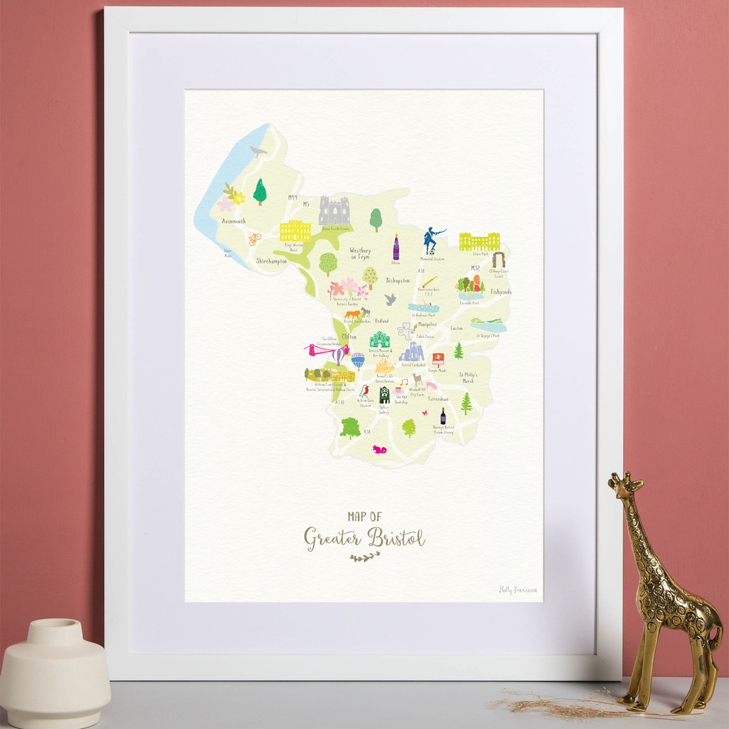 Illustrated hand drawn Map of Greater Bristol art print by artist Holly Francesca. All prints can come framed or unframed.
