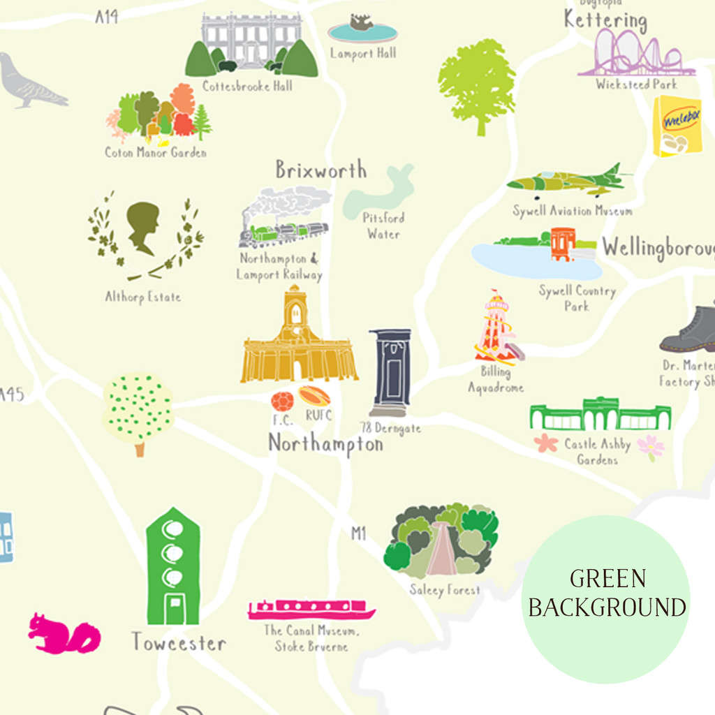 Illustrated hand drawn Map of Northamptonshire art print by artist Holly Francesca.