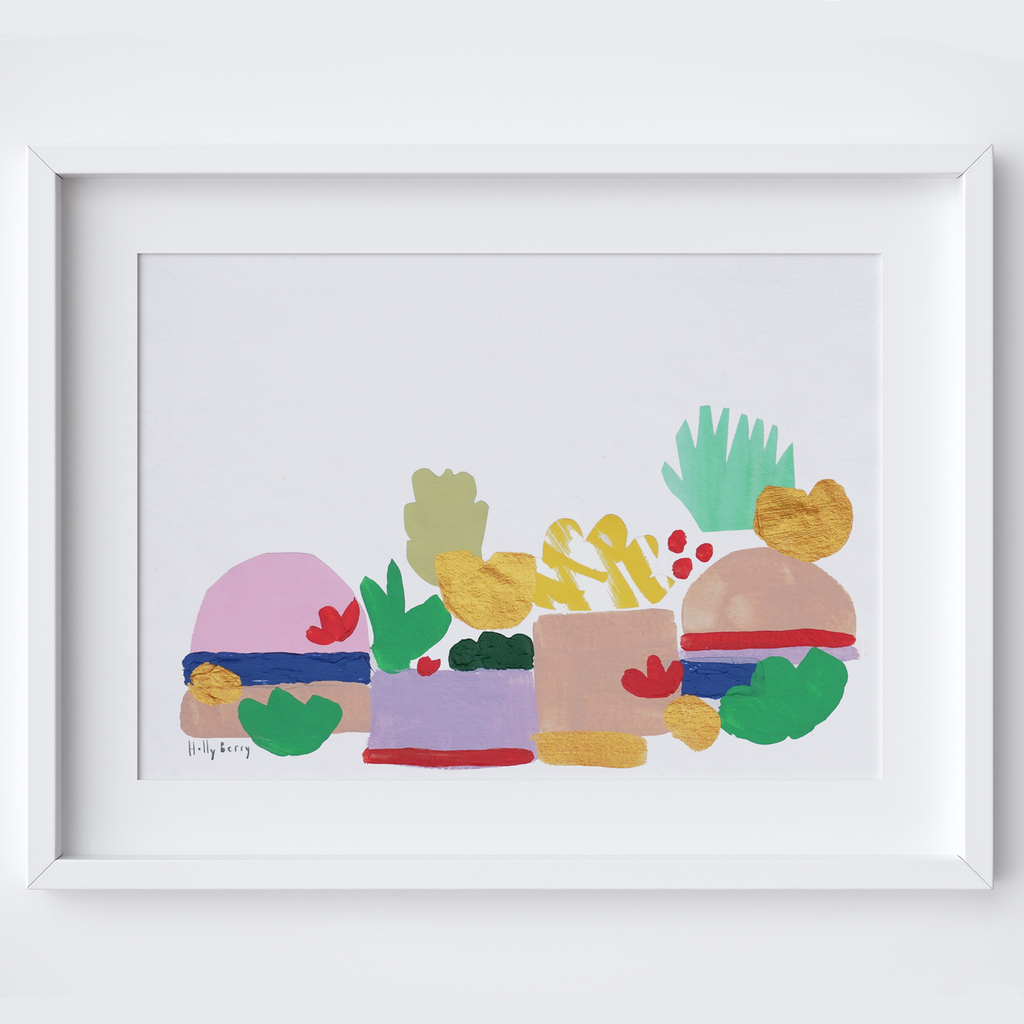Abstract Summer Plants Print framed print